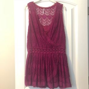 Free People pink lace drop waist dress (NWOT) XS